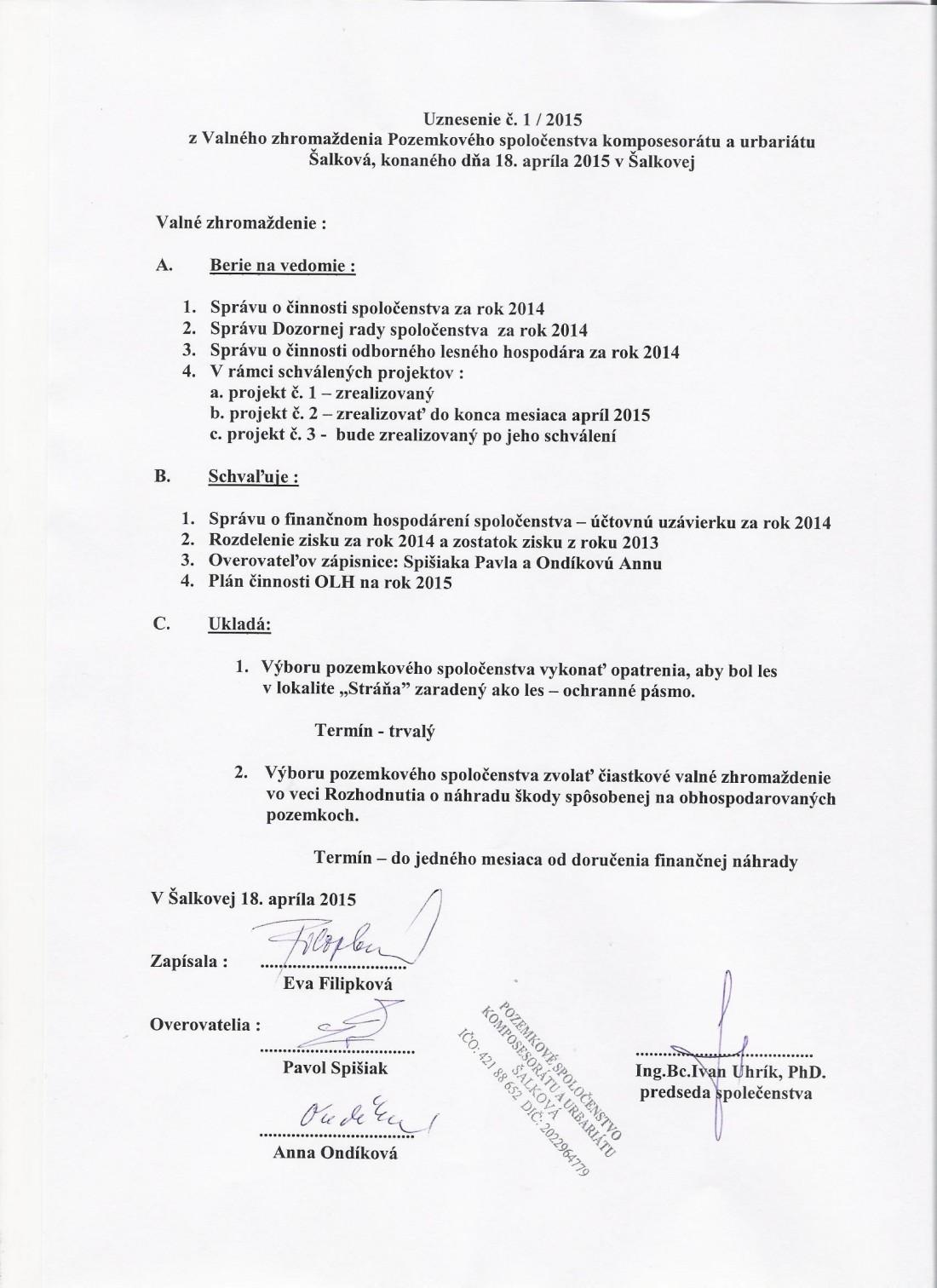 Uznesenie z Valného zhromaždenia 18.4.2015