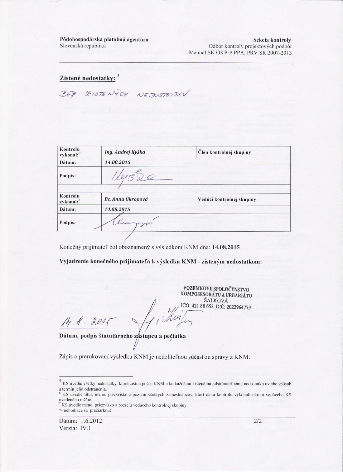 14.8.2015 Zápis o prerokovaní kontroly Projekt č. 1.7 strana č. 2 - vytyčovanie hraníc v teréne