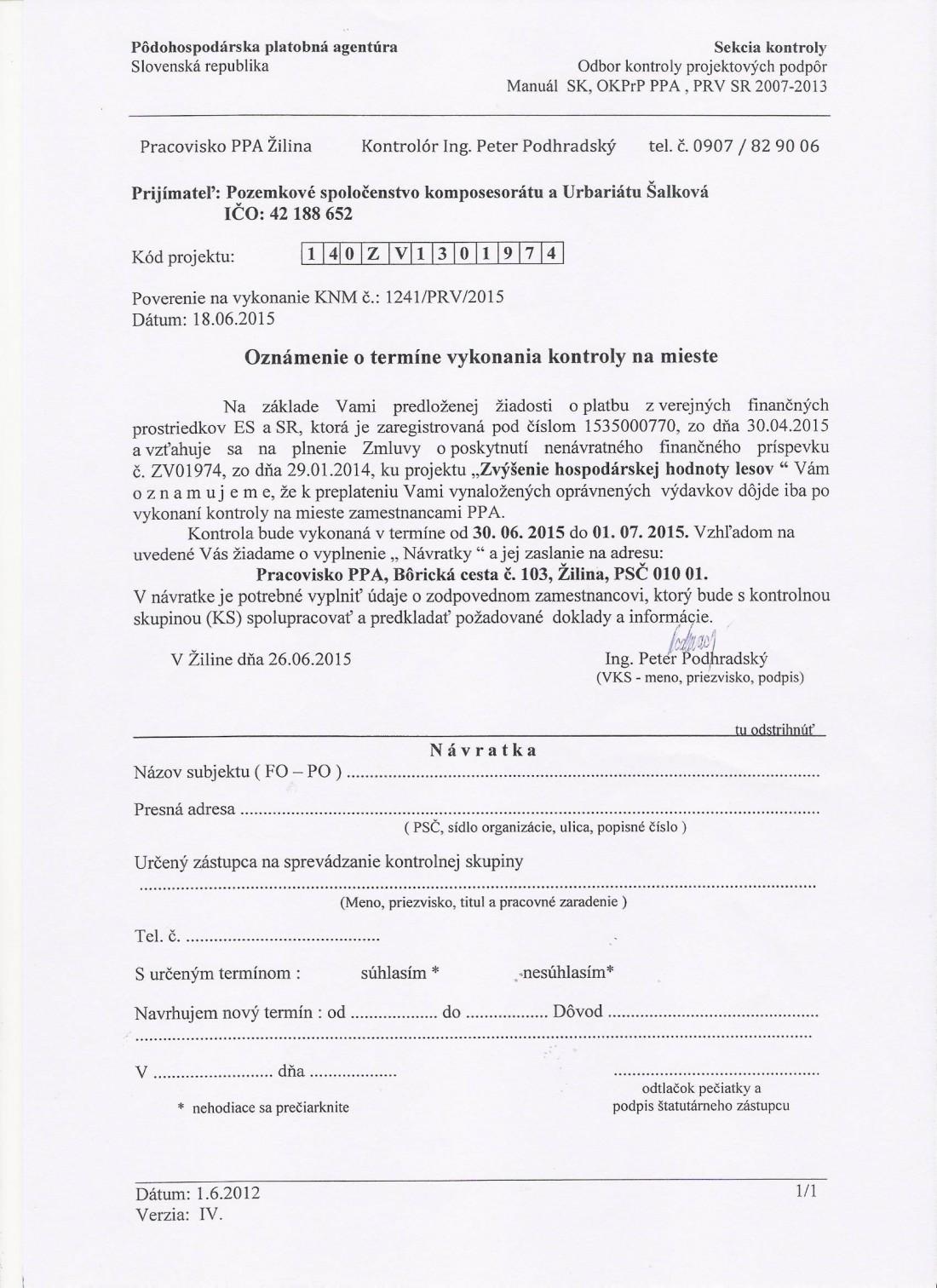 30.6.2015 Oznámenie o vykonaní kontroly Projekt č. 1.4 - auto