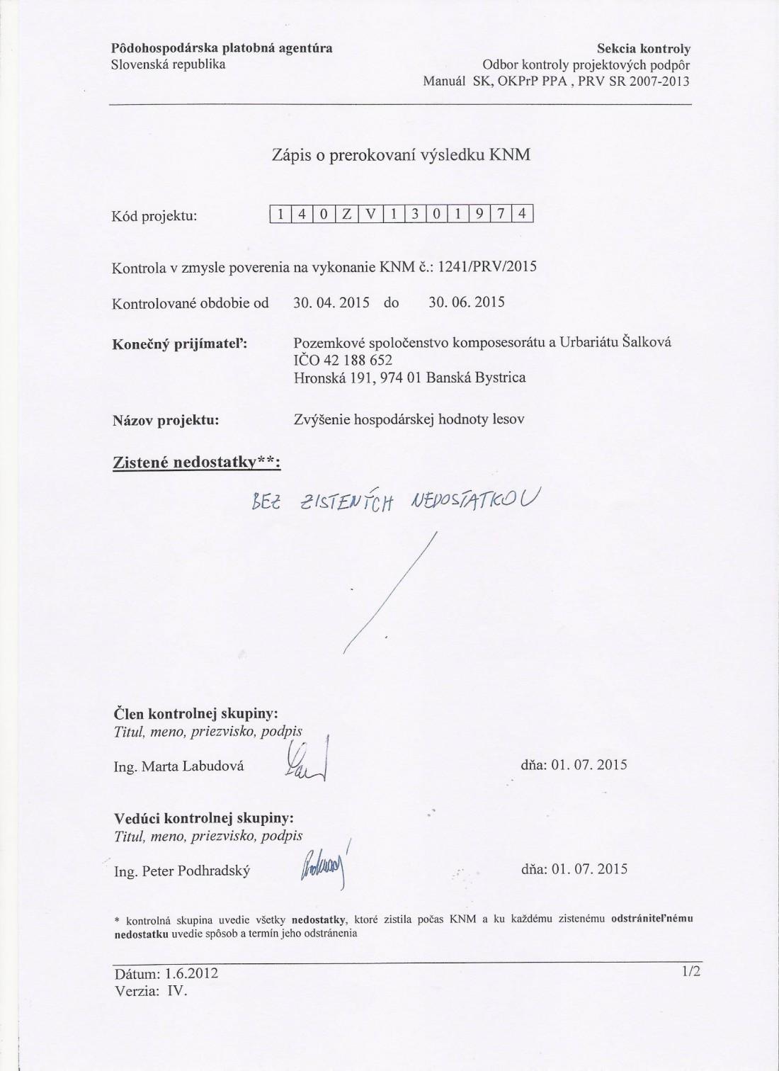 30.6.2015 Zápis z výsledku kontroly Projekt č. 1.4 - auto, strana č. 1