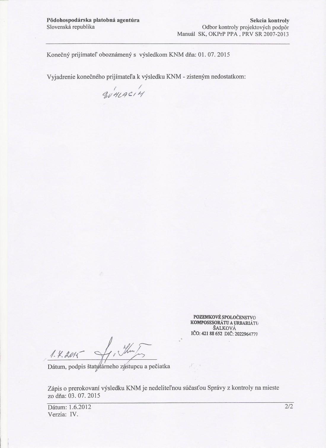 30.6.2015 Zápis z výsledku kontroly Projekt č. 1.4 - auto, strana č. 2