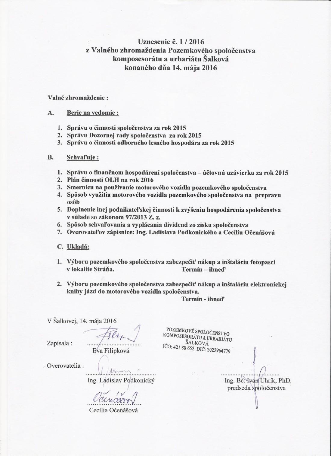 Uznesenie z VZ 14.5.2016