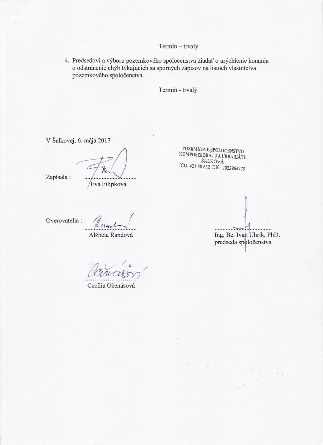 Uznesenie VZ 6.5. 2017 - strana č. 2