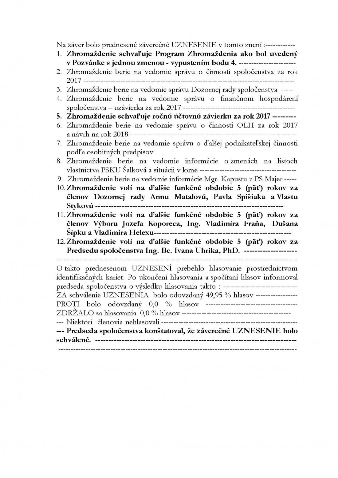 Uznesenie z VZ 5.5.2018