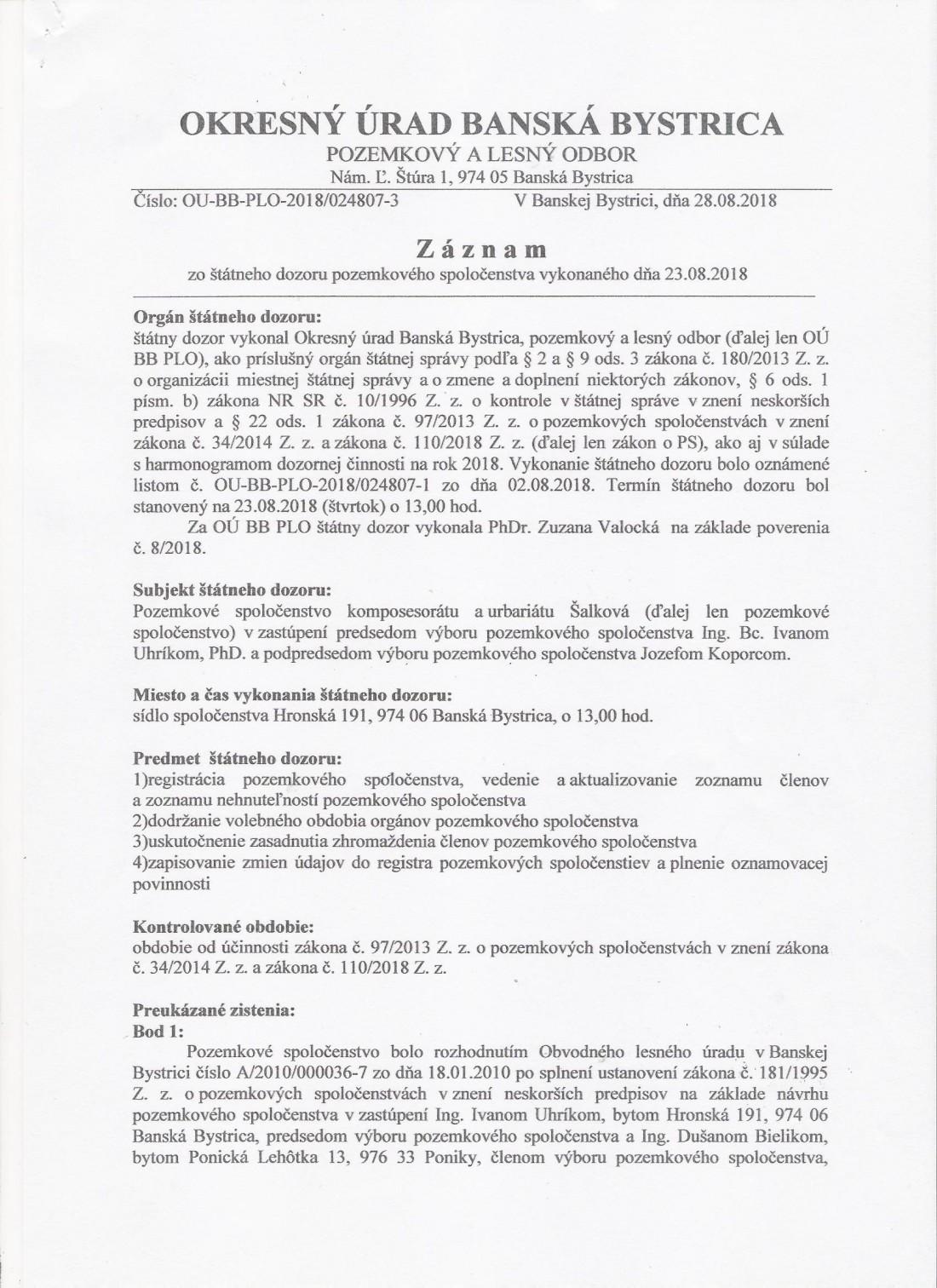 OÚ BB Pozemkový a lesný odbor Záznam o vykonaní kontroly strana 1