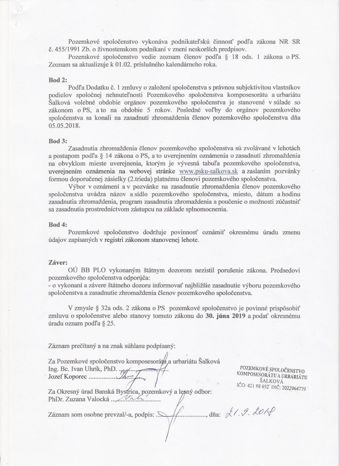OÚ BB Pozemkový a lesný odbor Záznam o vykonaní kontroly strana 3