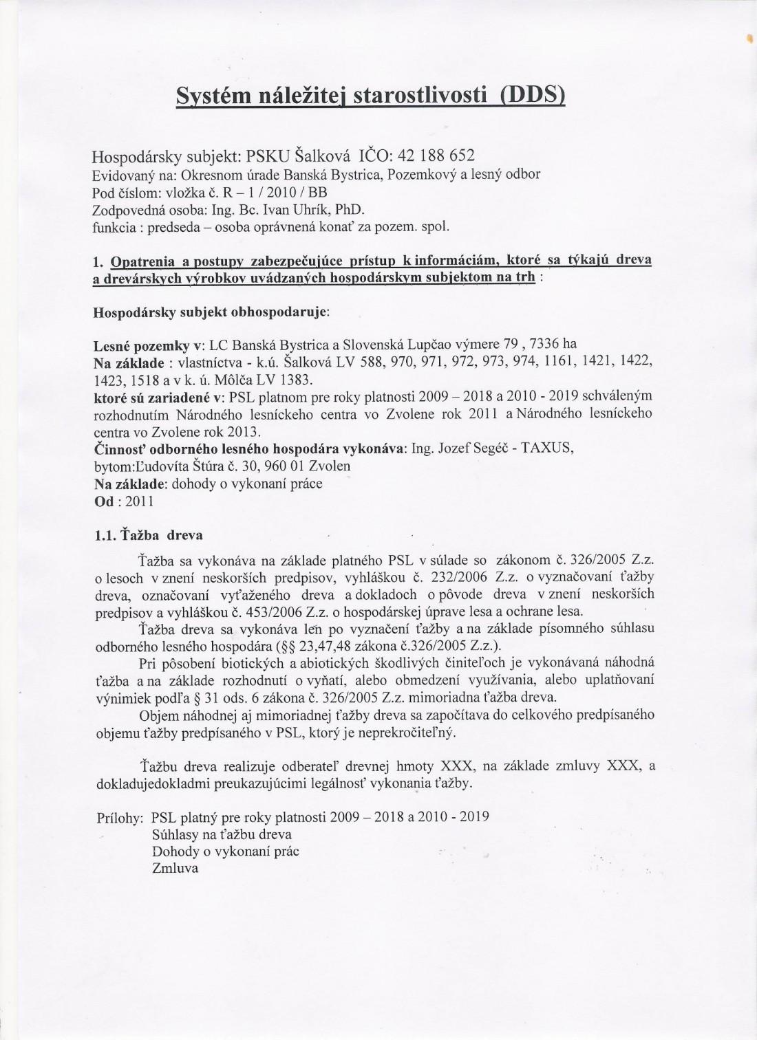 Systém náležitej starostlivosti o les - strana č. 1