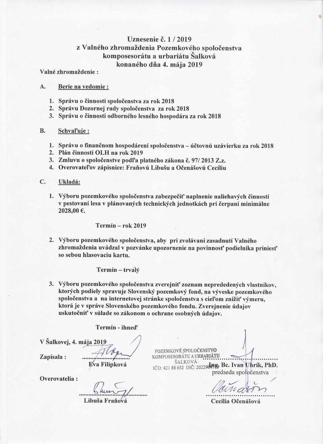 Uznesenie č. 1 - 2019 z VZ zo dňa 4.5. 2019
