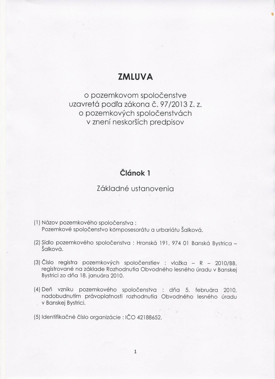 Zmluva o pozemkovom spoločenstve zo dňa 4.5.2019 - strana č. 1.doc