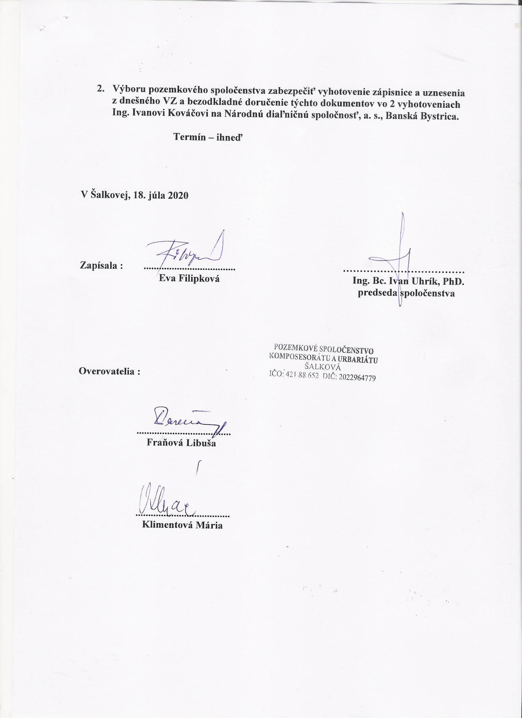 Scan - Uznesenie z VZ 18.7.2020 - strana č. 2